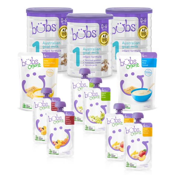 Bubs® Australian Goat Milk Stage 1 Two-Week Bundle