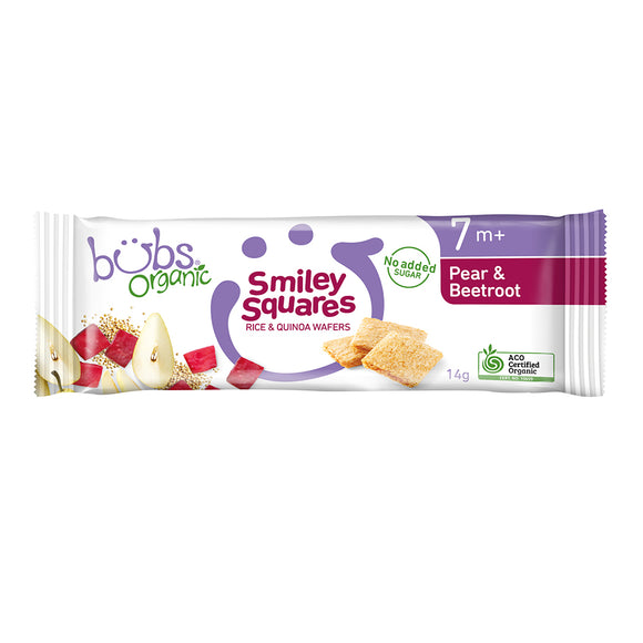 Bubs® Organic Smiley Squares Pear and Beetroot