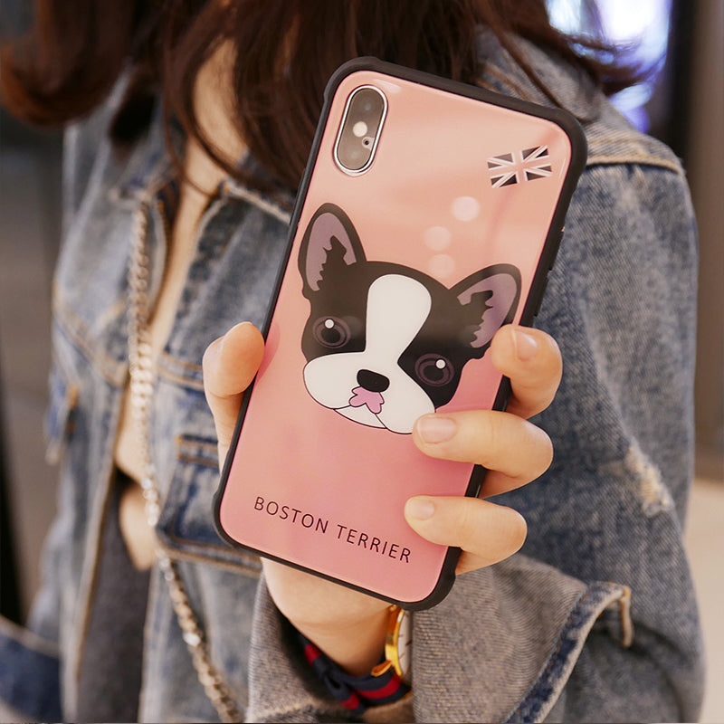 Boston terrier tempered glass phone case for iPhone X