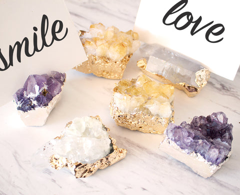 Cluster Place Cards Holders - Amethyst, Crystal or Citrine - Gold or Silver Plated - Escort Card - Placement