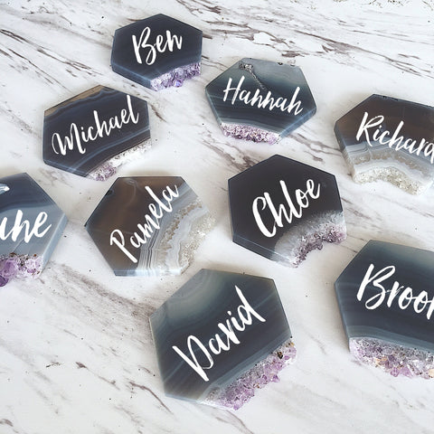 Amethyst Slice Hexagons - Name Cards, Escort Cards, Place Cards