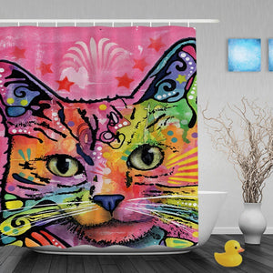 Cat Art Shower Curtain Different Styles