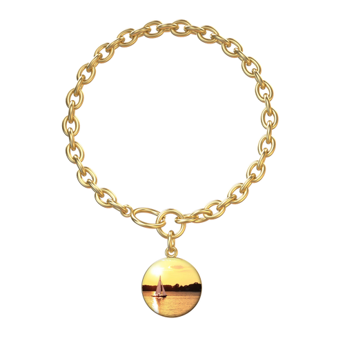 Sandaway Sunset - Lotus Coin with Aurora Bracelet in gold