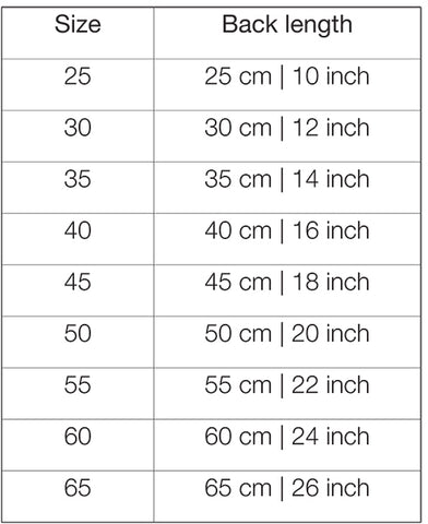 PAIKKA Recovery clothes size guide
