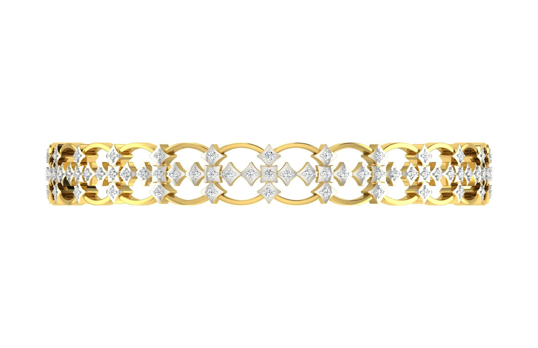 5 Stone Clover Diamond Bangle