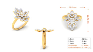 Motif Pattern Diamond Ring