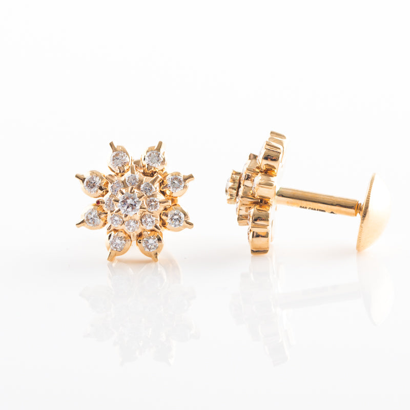 Step Pattern Elegant Diamond Studs