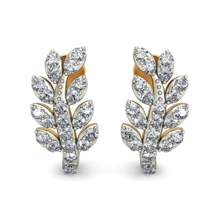 Elegant Diamond Leaf Studs