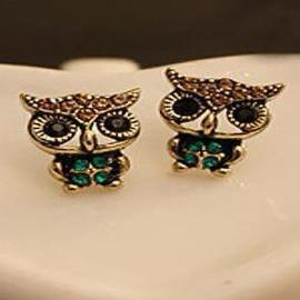 Owl Rhinestone Earrings - HAFIVE