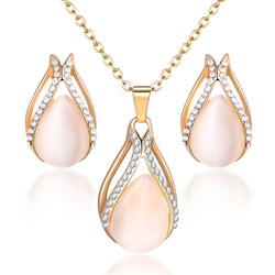 Elegant Water-drop Pendant Necklace - Earrings set - HAFIVE