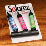 SolarRez PRO roadie kit 3 pack of 1 OZ bottles with medium size UVA Flashlight