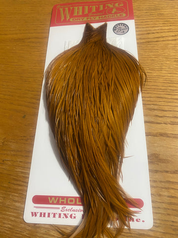 Whiting Farms Bronze Grade Rooster Cape White Dyed Brown