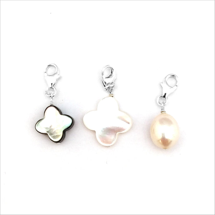 Pearly Clover Charm Trio