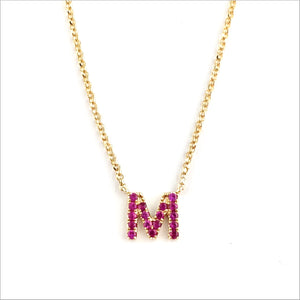 14K Gold & Ruby (M) Letter Necklace