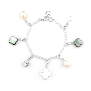 Pearly Clover Charm Bracelet
