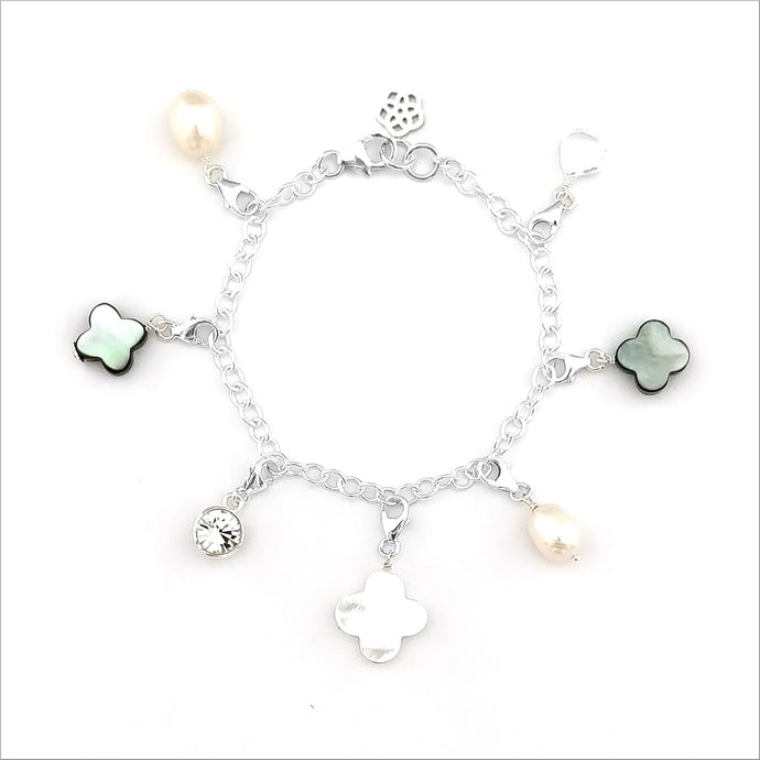 SALE - Pearly Clover Charm Bracelet