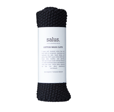 Cotton Wash Cloth in Black by Salus Body