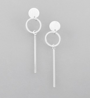 Silver Circle and Bar earings by Tiger Tree