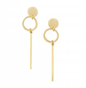 Gold Circle and Bar Earings by Tigertree