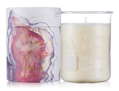 Alchemy 210g Beaker Candle by Janina Victoria in Leather & Oud