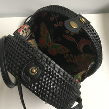 Rattan Roundie Bag in Black with Batik cotton lining