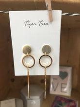 Gold Circle and Bar Earings by Tiger tree