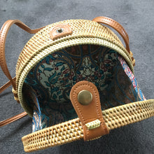 Rattan Roundie Bag with Batik cotton Lining (style 7)