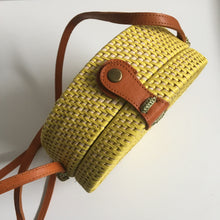 Rattan Roundie Bag in Yellow with Batik cotton lining