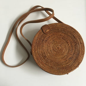 Rattan Roundie Bag Hand made with Batik lining (style 1)