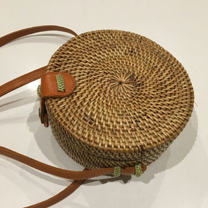 Rattan Roundie Mini size with Batik cotton Lining (style mini 1)