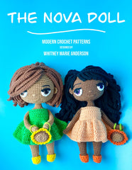 Image of two crochet dolls, one in green dress the other in peach dress