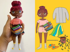 left side, a hand holding a doll. right side, digital illustration of the doll and accessories