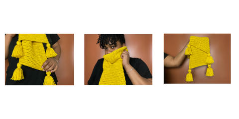 3 images in a collage, each of different angles of a yellow scarf
