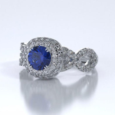 Memorial Jewelry - Diamants Entourant Ring in Platinum with Blue Sapphire and Diamonds - Side