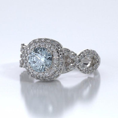 Memorial Jewelry - Diamants Entourant Ring in 18k White Gold with Aquamarine and Diamonds - Side