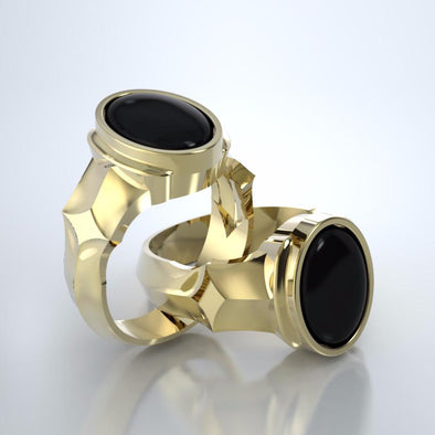 Men's Eros Cremation Ring in 18k Yellow Gold with Back Onyx