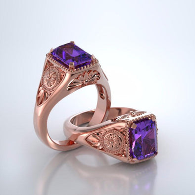 Memorial Jewelry - Lotus Ring in 18k Rose Gold with Amethyst