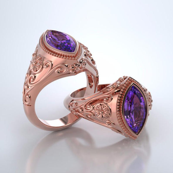 Memorial Jewelry - Cassandra Ring in 18k Rose Gold with Amethyst