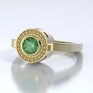Memorial Jewelry - Mystere Ring in 18k Yellow Gold with Tsavorite Garnet - Side