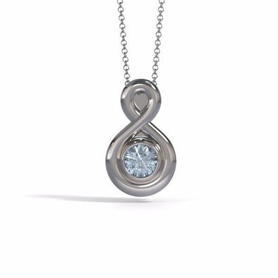 Memorial Jewelry - Eternity Pendant (Small) in 18k White Gold with Aquamarine - Front