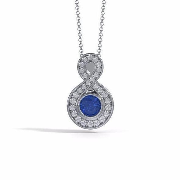 Memorial Jewelry - Sparkling Eternity Pendant (Small) in Platinum with Blue Sapphire and Diamonds- Front