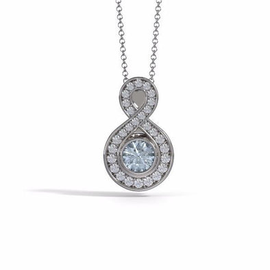 Memorial Jewelry - Sparkling Eternity Pendant (Small) in 18k White Gold with Aquamarine and Diamonds- Front