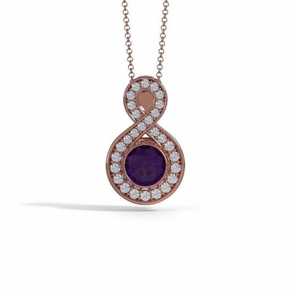 Memorial Jewelry - Sparkling Eternity Pendant (Large) in 18k Rose Gold with Amethyst and Diamonds- Front