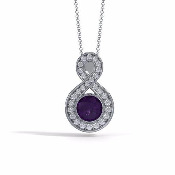 Memorial Jewelry - Sparkling Eternity Pendant (Large) in Platinum with Amethyst and Diamonds- Front