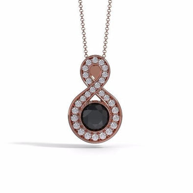 Memorial Jewelry - Sparkling Eternity Pendant (Large) in 18k Rose Gold with Black Onyx and Diamonds- Front
