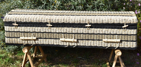 Ecofriendly Adult Banana Leaf Casket with Ebony Trim