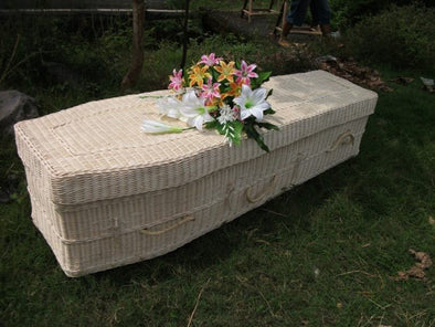 Ecofriendly Adult Rattan Casket - Square Tapered in Natural
