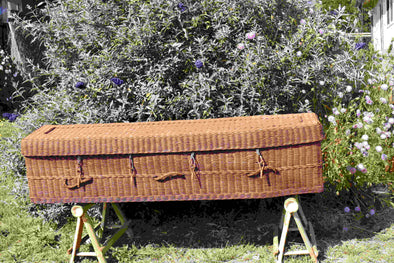 Adult Rattan Casket - Square Tapered in Teak