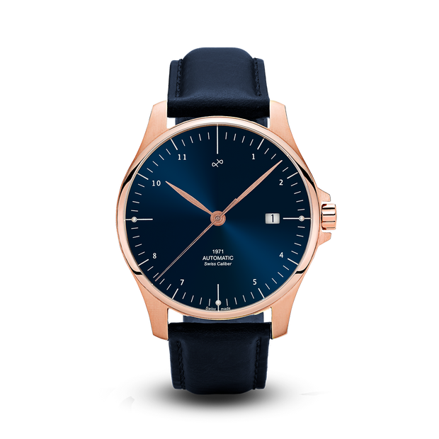 1971 Automatic, Rose Gold / Night Blue Sunray - Swiss Made