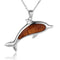KOA Wood Inlaid Sterling Silver Dolphin Pendant - Hanalei Jeweler